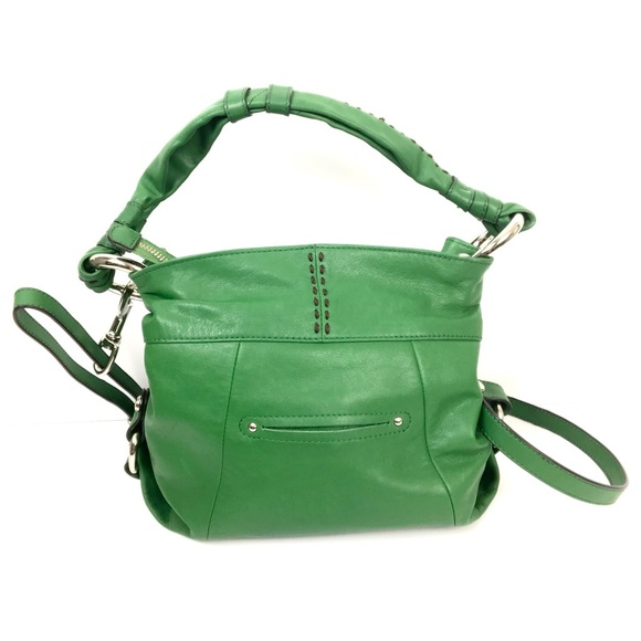 b. makowsky Handbags - B Makowsky Green Leather Convertible Crossbody Bag